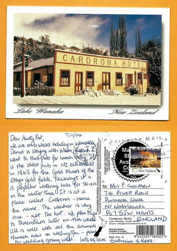 NEW ZEALAND POSTCARD-STAMP-HOTEL CARDRONA LAKE WANAKA
