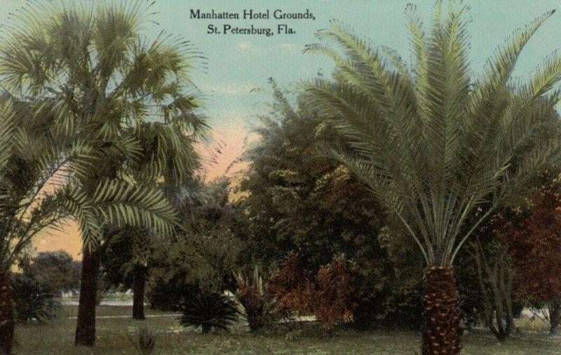 ST. PETERSBURG, Florida, 1900-10s; Manhatten Hotel Grounds, Palm Trees