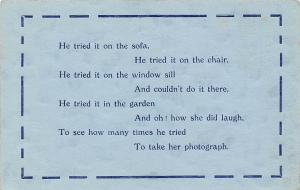 Comic He tried it on the sofa, on the chair Lyrics, Beacon Series