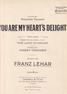 You Are My Hearts Delight Franz Lehar Olde Sheet Music
