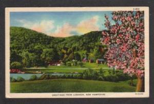 NH Greetings from LEBANON NEW HAMPSHIRE Postcard Linen