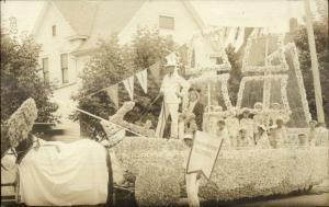 Fond Du Lac WI Parade Floats c1910 Real Photo Postcard WASHINGTON SCHOOL