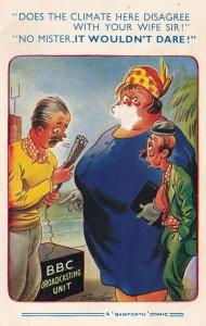 BBC TV Broadcasting Unit Vintage Comic Postcard
