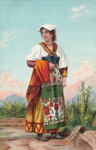 Stengel ethnic art folk costume italian type woman chromo early postcard