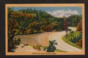 MA Greetings from PALMER MASS Postcard Linen Postcard Massachusetts