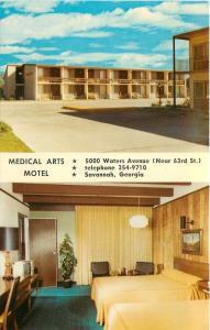 Savannah GA~Medical Arts Motel @ 5000 Waters Ave~Paneled Rooms ~1960s Postcard