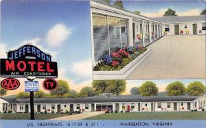 C57/ Warrenton Virginia Postcard Chrome Jefferson Motel 2View Roadside