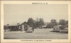 Barnstead NH Evergreen's Clam Bar & Cabins Postcard