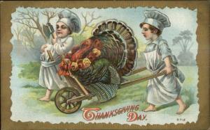 Thanksgiving Little Boy Chefs w/ Turkey in Wheelbarrow c1910 Postcard