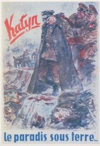 Katyn Massacre French Military War WW2 Poster Postcard