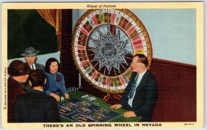 Vintage Nevada Postcard Wheel of Fortune Casino Interior View Linen c1940s