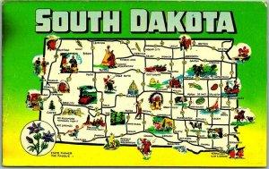 1960s SOUTH DAKOTA State Map Postcard w/ State Flower Comic Drawings Unused