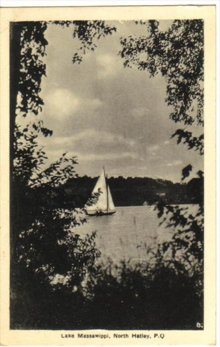NORTH HATLEY, Quebec, Canada, PU-1946; Lake Massawippi, Sail Boat