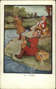 Fishing Comic #451 - Tim Hallock c1910 Postcard