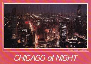 Illinois Chicago At Night From John Hancock