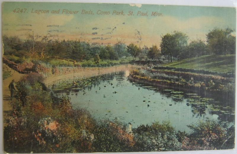 Lagoon and Flower Beds Como Park St Paul MN 1912