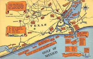 Maps Texas, Gulf of Mexico USA Unused