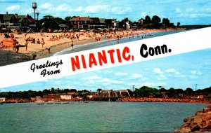 Connecticut Niantic Greetings Showing Crescent Beach & Niantic Bay and Railro...