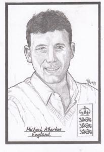 Michael Atherton English Cricket Rare Artist Drawing Limited Edn of 500 Postcard