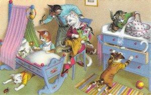 Dressed Cats Family Mainzer Art Anthropomorphic Comic #4881 Vintage Postcard