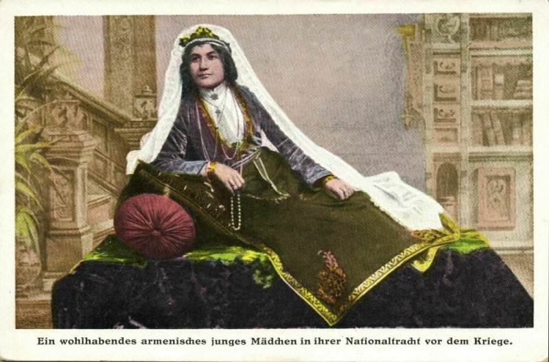 armenia, Wealthy Young Armenian Girl in her National Costume (1920s) Postcard
