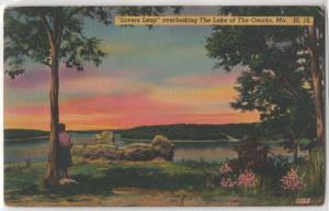 Lovers Leap Sunset Lake of the Ozarks Missouri MO Linen Color Vintage Postcard