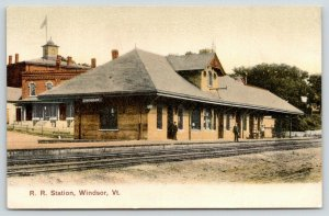 Windsor Vermont~Railroad Tracks Before & Hotel? Behind Train Station~Depot~c1910