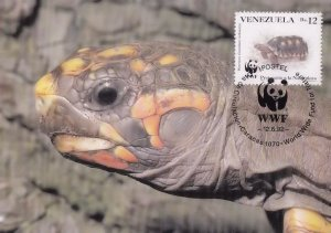 Red Footed Tortoise Venezuela WWF Rare Stamp FDC Postcard