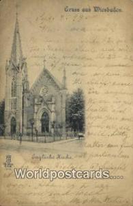 Gruss aus Wiesbaden Germany, Deutschland Postcard Englische Kirch Gruss aus W...