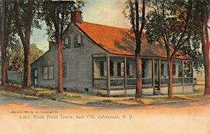 JOHNSTOWN NY BLACK HORSE TAVERN~1900s ROTOGRAPH PHOTO POSTCARD