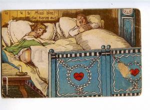 240322 COMIC Fat Husband & BELLE Wife NUDE Vintage postcard