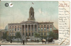 Undivided Back Postcard, City Hall Brooklyn New York with Horse and Wagon Street
