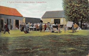 Orange Massachusetts~Country Farm Auction Scene~Barns~Wagons~Crowd~1913 Postcard