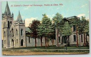 Prairie du Chien Wisconsin~St Gabriel's Catholic Church & Parsonage~1913