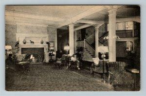 Woodstock VT-Vermont, The Lobby At Woodstock Inn, Vintage Postcard