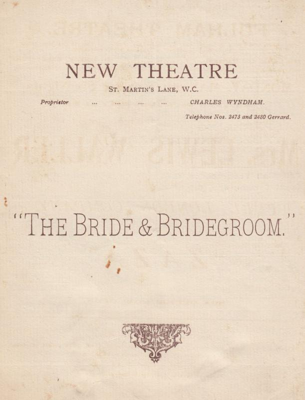 The Bride & Bridegroom Arthur Law Berkshire Flat Old Theatre Programme