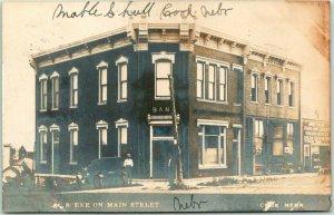 1909 COOK, Nebraska RPPC Real Photo Postcard SCENE ON MAIN STREET Bank View