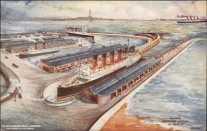 Cunard Line Steamships Mauretania & 1 Other 4 Stacker Steaming Liverpool c1910