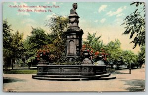 Pittsburg PA~Humboldt Bust Monument~Allegheny Park~Nice Flower Planters~1910