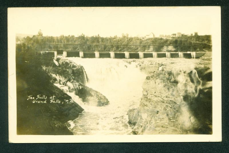 Falls at Grand Falls New Brunswick Canada Real Photo Postcard RPPC
