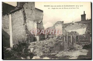 Old Postcard Reims In his years Bombardment Macon Streets Angle and Saint Yon...