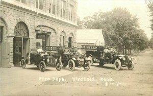 c1915 Winfield Kansas Fire Department Ladder Truck Brown Studio RPPC Postcard