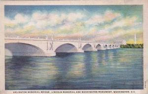 Washington DC Washington Arlington Memorial Bridge Lincoln Memorial And Washi...