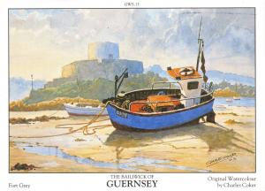 Guernsey Art Postcard Fort Grey Channel Islands by Charles Coker P40