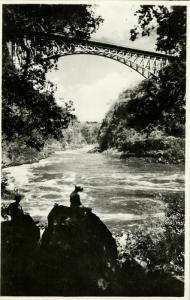 rhodesia, VICTORIA FALLS, The Bridge and Boiling Pot (1940s) RPPC