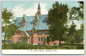 Madison~University of Wisconsin Horse Barns~Huge Building with Dormers~1910