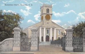Honolulu Hawaii~Territory~TH~Kawaiahao Church~Clock~Front Gates~1910 Postcard