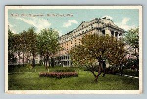 Battle Creek MI-Michigan, South View of the Sanitarium, Vintage c1920 Postcard