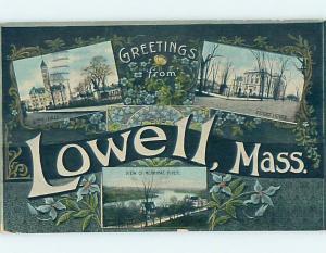 Divided-Back BIG LETTERS Lowell Massachusetts MA ho7181
