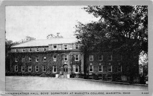 Marietta Ohio 1939 Postcard Fayerweather Hall Boys Dorm Marietta College